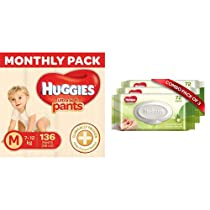 Huggies Ultra Soft Pants Diapers Monthly Pack, Medium (136 Count) & Huggies Baby Wipes – Cucumber & Aloe, Pack of 3 (216 Wipes)