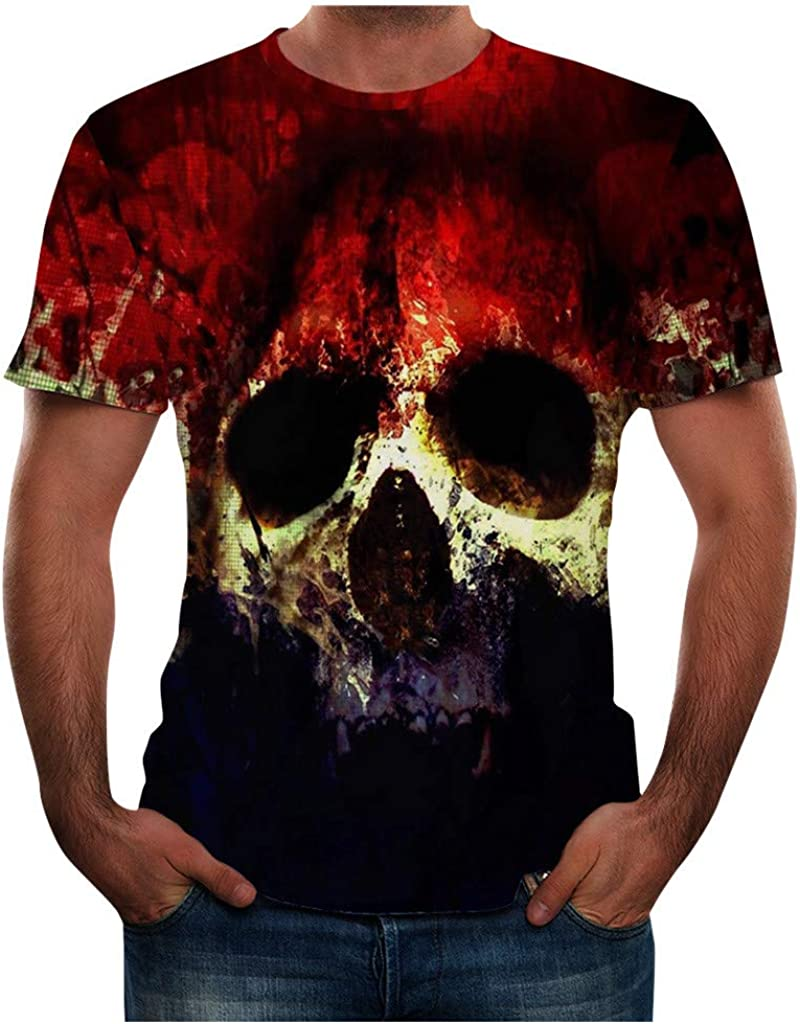 Gergeos Men's Fashon Funny T-Shirt Skull 3D Printed T-Shirt Cool Summer Short Sleeves Tees Shirt