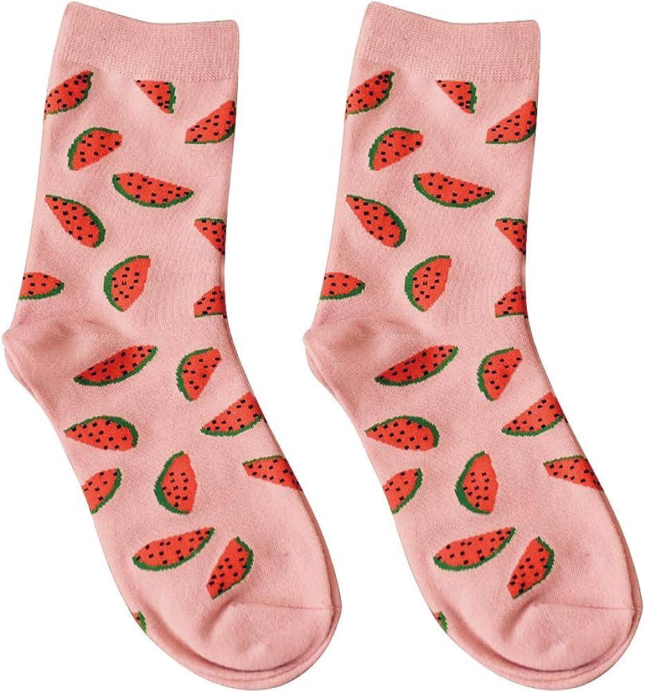 Casual Socks Women, Winter Cotton Watermelon Printing Breathable Long Socks