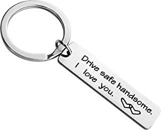 Drive Safe Keychain I Need You Here with Me Keychain for Trucker Husband Son Fathers Day Birthday Gifts Keychains for Boyf...