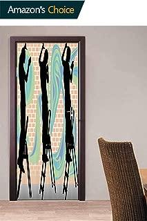 3D Door Wallpaper, Graffiti Artist Door Stickers Pattern Door Sticker for Living Room Bedroom Home Decorations, 30.3W x 78.7H Inches