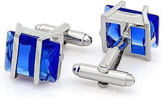 Cubic Zirconia Crystal Cufflinks Silver Tone Jewelry for Men