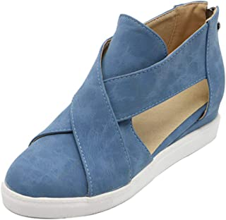 TAOFFEN Women Wedge Heel Summer Shoes Closed Toe