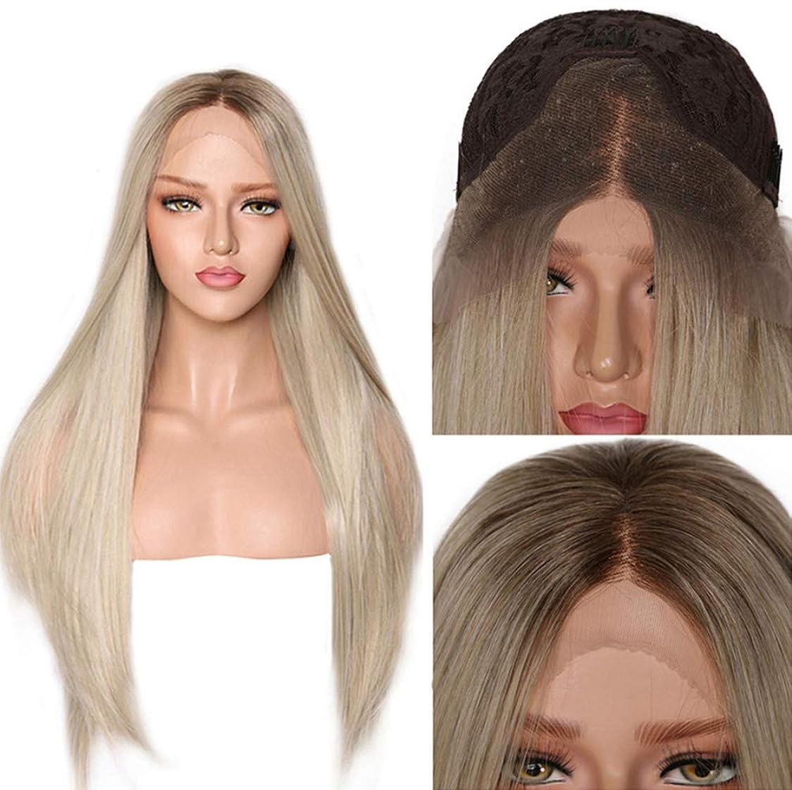 心理的に知っているに立ち寄るオッズ女性かつらロングストレートヘアーオンブル合成耐熱高品質かつら無料ウィッグキャップブロンド26インチ