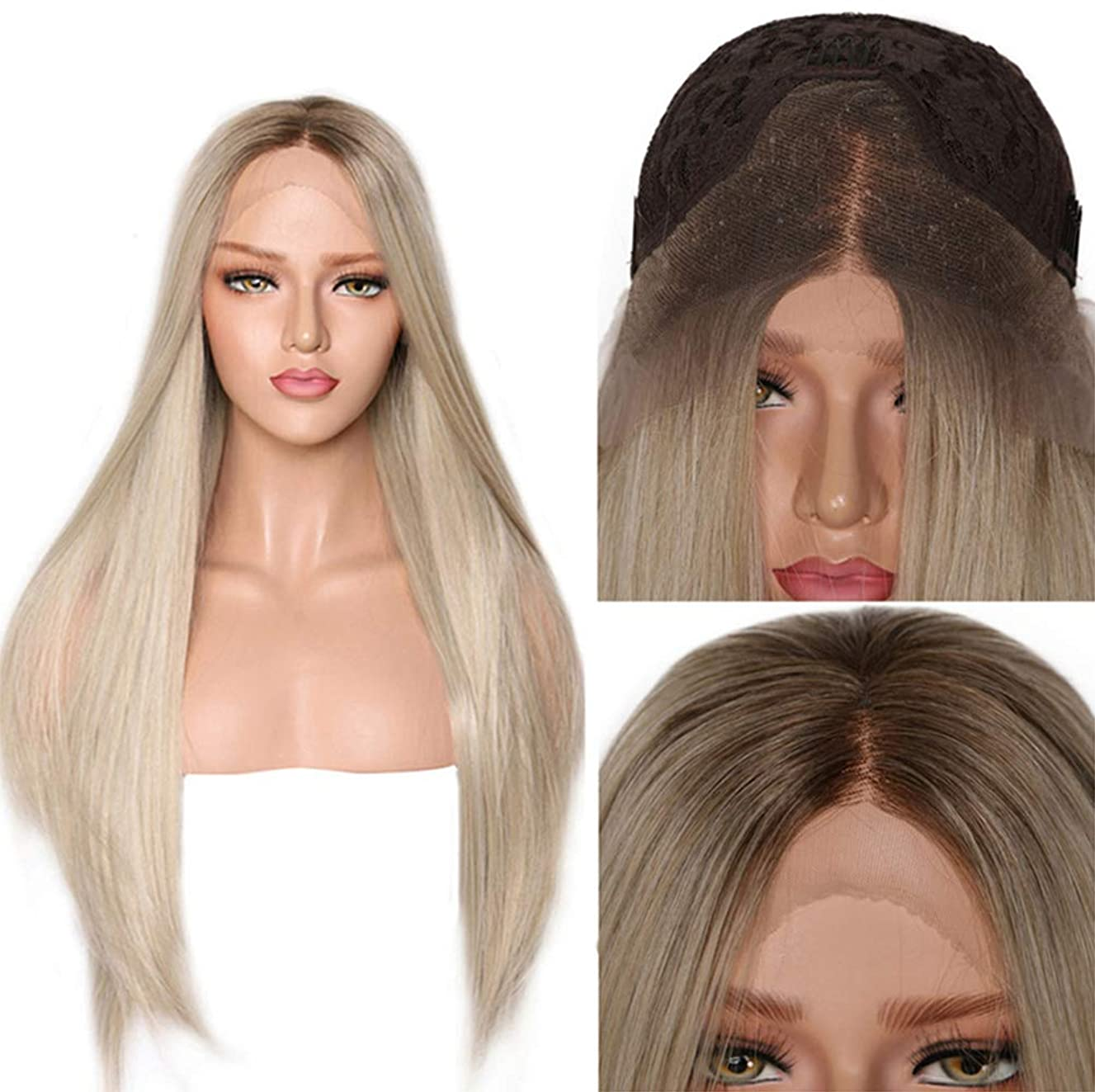 女性かつらロングストレートヘアーオンブル合成耐熱高品質かつら無料ウィッグキャップブロンド26インチ