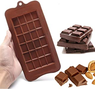 Silicone Chocolate Mold, Break Apart Non-Stick Protein Candy and Energy Bar Food Grade Kitchen Baking Tray (Brown)