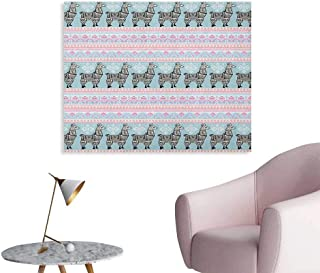 Anzhutwelve Llama Wall Paper Horizontal Borders with Patterned Alpaca Animal and Ethnic Folkloric Tribal Ornaments Space Poster Multicolor W36 xL32