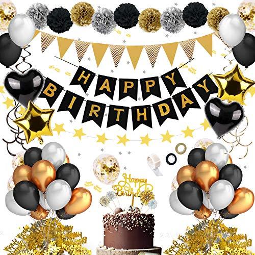 JSTC Geburtstagsdeko, Deko Geburtstag Mann, Happy Birthday Dekoration Schwarz Gold Luftballons Set mit Girlande Ballons Tischdeko Pom Poms Tortendeko Wimpel Spiral für Party.