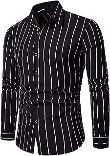 Sunmoot Business Work Men Striped Shirts Long Sleeve Button Down Turn-Down Collar Top Blouse
