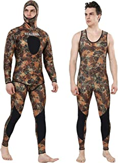 Realon Wetsuit 5mm 3mm Full Spearfishing Suit Camo Scuba Diving Suit Hoodie Snorkeling Suits Men