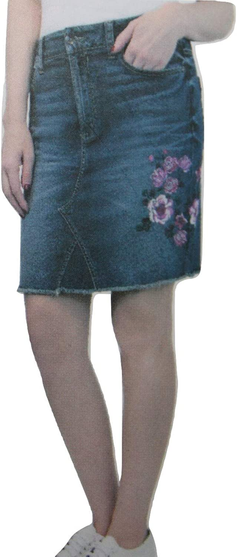 7 For All Mankind Seven7 Womens Denim Jean Skirt Raw Hem Embroidered Flower Trim