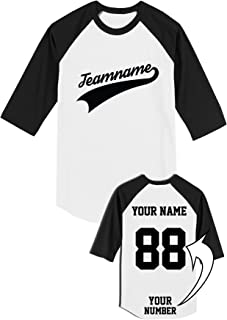 Custom Raglans for Team Apparel - Unique Design 3/4 Sleeve 100% Cotton Add Your Name Number Shirts