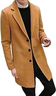 REYO Men's Casual Jacket Men Formal Single Breasted Overcoat Long Wool Jacket Outwear Top Coats Trenchcoat