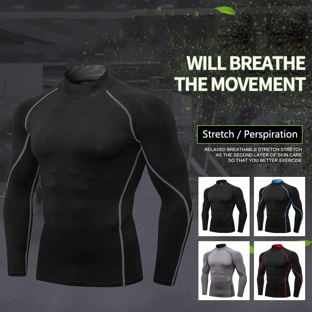 Queerier Mens Compression Shirts Running Long Sleeve Tops Baselayer Shirts Underlayer Top Long Sleeve Shirt for Men 3 Pack