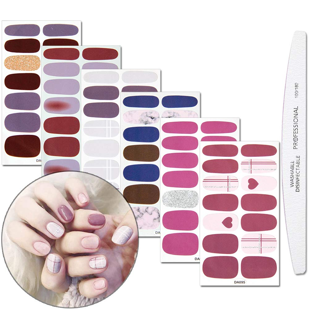 WOKOTO We OFFer at cheap prices 6 Sheets Max 75% OFF Nail Polish Stickers Marble Pa Color Wraps Solid