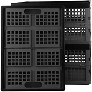 Bringer 3-Pack 30 L Collapsible Milk Crates, Stackable Collapsible Storage Baskets