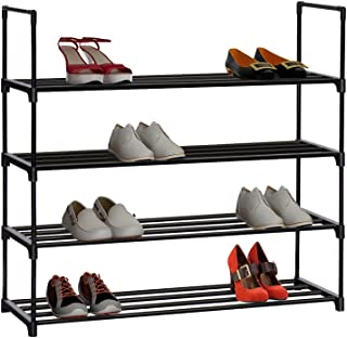 """HOME BI 4 Tier Shoe Rack, 20 Pairs Shoes Organizer Closet for Home & Office, Anti-Rust,Easy to Assemble, No Tools Required,35.6""""W x 12.0"""" D x 33.27""""H, Black"""