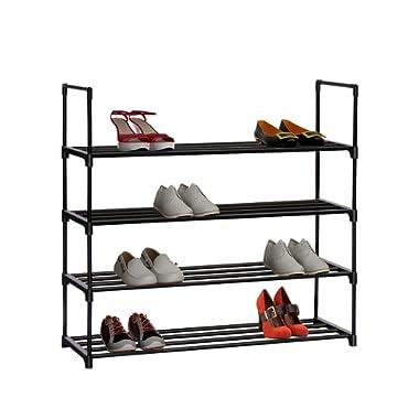 Homebi 4-Tier Shoe Rack Metal Shoe Tower 20-Pair Shoe Storage Organizer Unit Entryway Shelf Stackable Cabinet with 4 Tiers Durable Metal Shelves,35.6  W x 12.0  D x 33.27  H (Black)