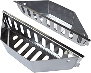 """Stainless Steel Charcoal Basket- BBQ Grilling Accessories for Grills and 22"""" Kettles- Heavy Duty Char-Basket for Briquette, Wood Chips- Charcoal Grill Accessories (Set of 2)"""