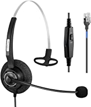 $29 » Arama Phone Headset RJ9 with Pro Noise Canceling Mic and Mute Switch Controls Wired Headset for Polycom Mitel Plantronic N...