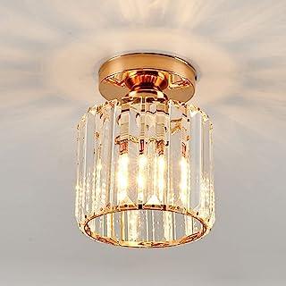 YOKIA Modern Gold Crystal Ceiling Light, Flush Mount Ceiling Light Fixture, 1 Light Crystal Ceiling Lamp Chandelier Lighti...