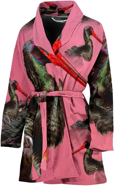 Black Stork Bird Print Women's Bath Robe