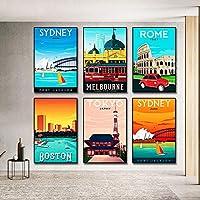 ニューヨークパリシドニー東京マンハッタンシティポスターキャンバス絵画プリント北欧の壁アート写真リビングルームの装飾用40X60cm16x24inchx6フレームなし