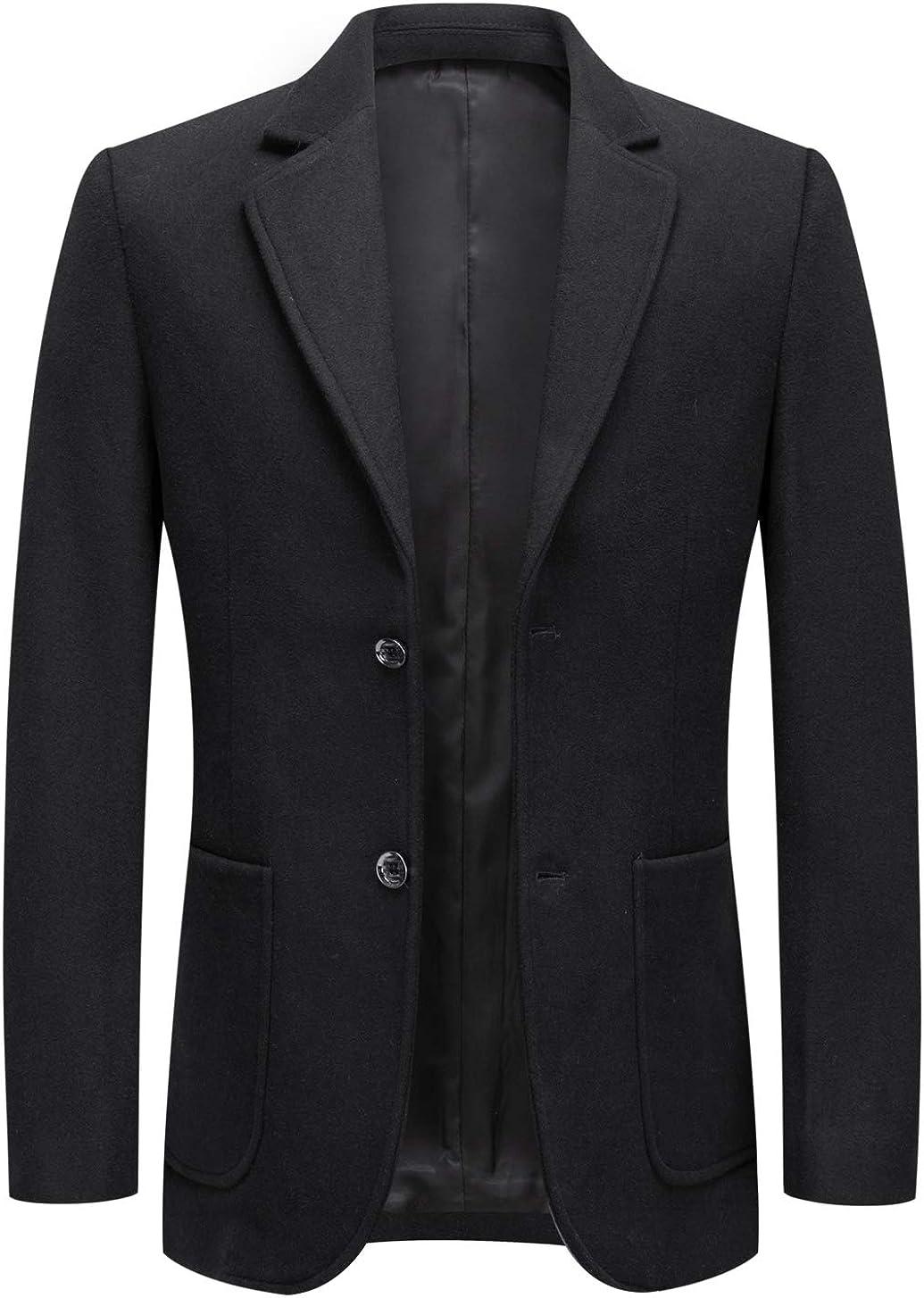 chouyatou Men's Gentle Notched Collar 2 Button Tailored Wool Blend Business Blazer Jacket Coat