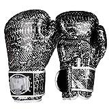 Guantes de entrenamiento de boxeo Guantes de impresión de la serpiente de Muay Thai Bolsa Bolsa Guantes Sparring del entrenamiento del boxeo de los guantes de boxeo Muay Thai Boxing MMA (color: plata,