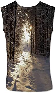 Winter Comfortable Tank Top,Abstract Christmas Themed Snowflake Pattern on The Soft Colored Background Image for Men,S