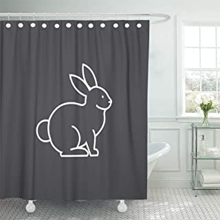 Emvency Shower Curtain Outline Rabbit Bunny Line Cute Shower Curtains Sets with Hooks 72 x 72 Inches Waterproof Polyester Fabric