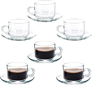 Coffee Cup Glass Teacup, Cappuccino Cups, Coffee Cups, Clear and Lightweight Glass Tea and Coffee Cup with Saucer(Set of 6) Gift Box