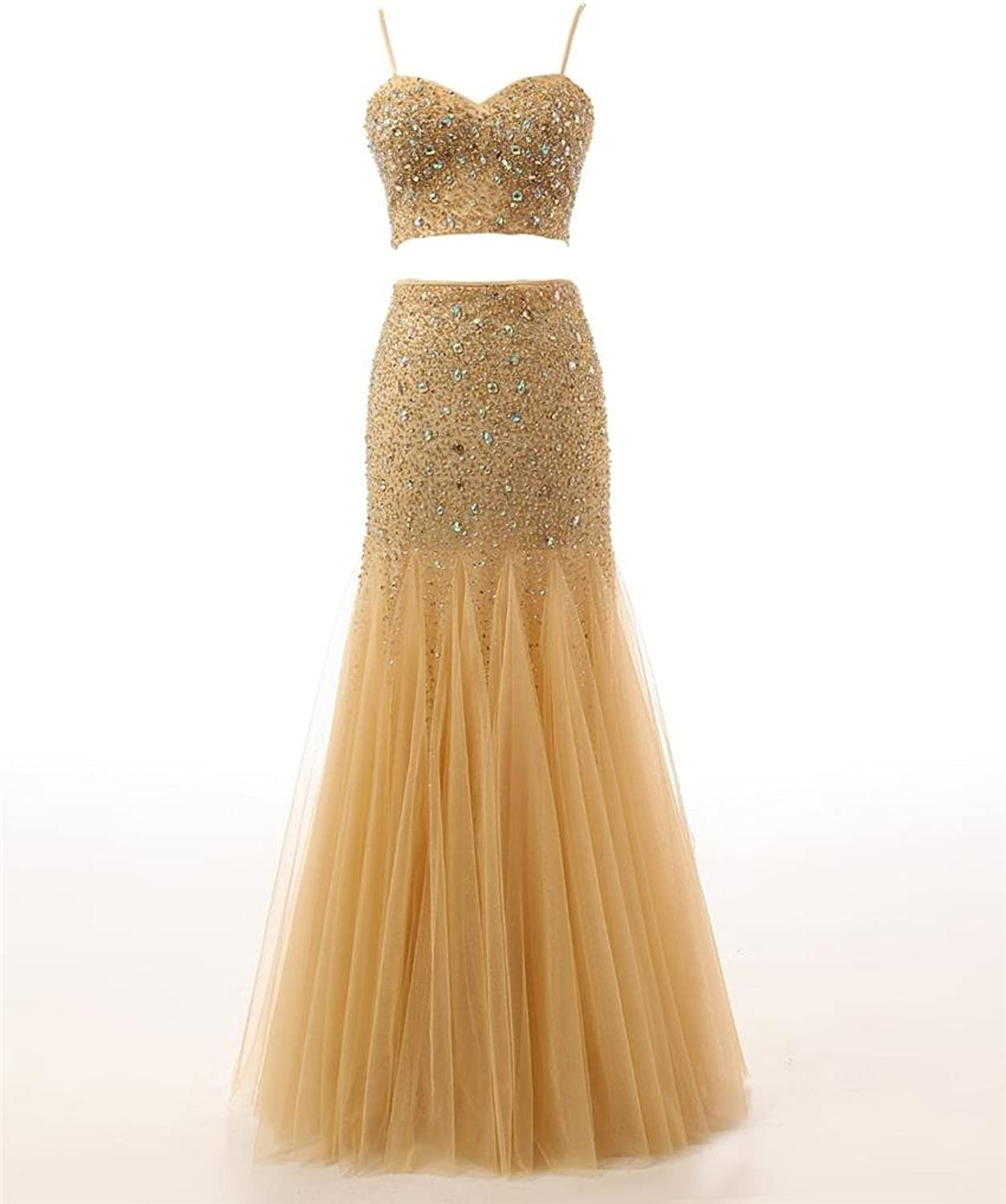 Changjie Women's Crystal Bead Tulle Two Piece Prom Dresses Evening Gown C158