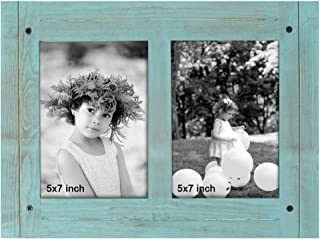 TNELTUEB 5 x 7 Rustic Shabby Chic Frame - Turquoise Blue Distressed Vintage Frame - Made to Display 2 5 x 7 Photos - Place on Tabletop, Shelf or Wall, Built-in Easel