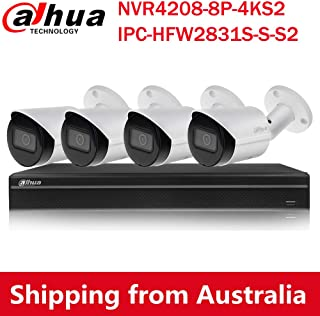 Dahua 4K(8MP) 8CH PoE Home Security Camera System, 8MP Startlight Outdoor PoE IP Cameras, 4K 8-Channel NVR(NVR4208-8P-4KS2...
