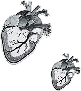U-Sky Sew or Iron on Patches - Human Anatomical Heart Patch for Biker Jackets, Clothing, Backpacks, 2 Different Size Pack - Size:7.3x4.9 inch, 3.6x2.5 Inch