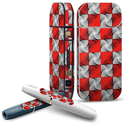 IQOS 2.4 plus 専用スキンシール COMPLETE アイコス 全面セット サイド ボタン デコ クール 赤 レッド 模様 うずまき 008458