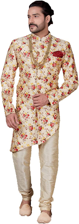 Indian Designer Partywear Traditional Ethnic Digital Printed On Jackard Silk Mens Wear Sherwani. Cream &Amp; Maroon