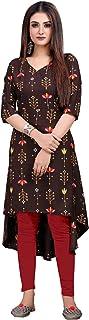 Hiva Trendz Women Crepe Floral Printed Up & Down Kurti (Up189-Brown)
