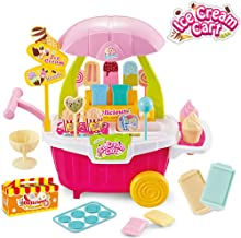 BeebeeRun Kids Ice Cream Truck Cart Toys Set,38PCS Pretend Play Kitchen Food Educational Ice-Cream Trolley Truck Toys Gifts for Toddlers Girls 3 4 5 6 Years Old