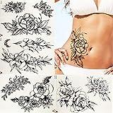 3 Piezas Lápiz Dibujo Mujeres Cintura Tatuajes Pegatinas Brazo Pintura Cuello Negro Niñas Tatuajes Pulsera Temporal Hojas Tatuaje Impermeable
