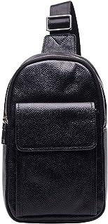 XINXI-YW Durable Cross Body Bag Pecho Deporte al Aire Libre Hombres del Cuero Genuino del Bolso de Hombro Mochila de Mensa...