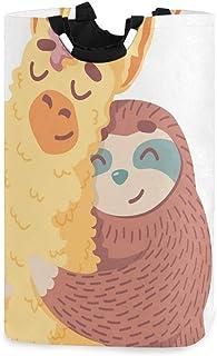 CaTaKu Panier à linge amusant Llama Paresseux mignon panier à linge Boîte de rangement étanche facile à transporter pour d...