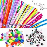 WuikerDuo, set di materiali creativi per bambini, include colla glitterata, pompon, pulitori per tubi, bastoncini per ghiaccioli per bambini e bambini #3