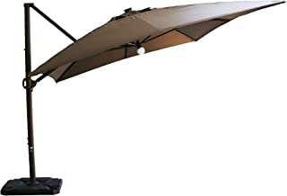 SORARA 10 ft by 13.1 ft Offset Cantilever Umbrella with LED Solar Center Light, Dark Brown (Base not Included)