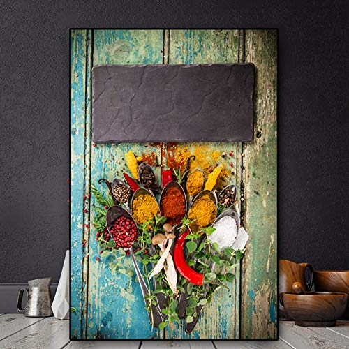 ZWBBO afbeelding op canvas, vegetale calcium specie lepel lepel canvas Manifesti Prints muurkunst afbeelding van voedsel