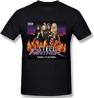 Charlynie Men's Logo Print of Steel Panther Feel The Steel Regular Short Sleeve T Shirts Black