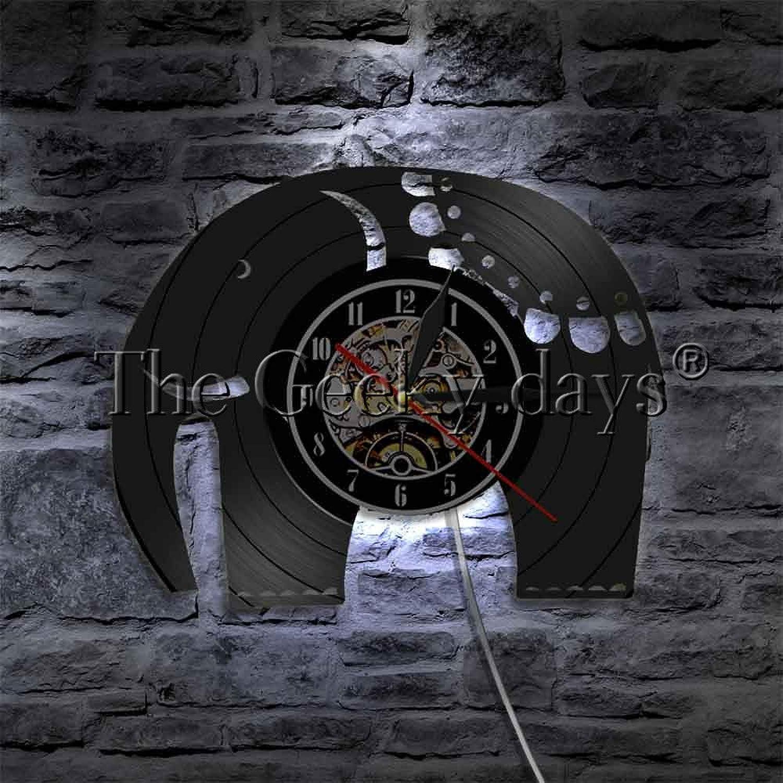 LTOOD 1 stuk Olifant Vinyl Record Wandklok Broers Dieren LED Wandlampen Slaapkamer Home Decor Voor Dieren Liefhebbers Gift Idee