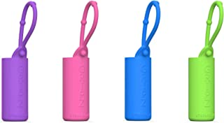 Roller Bottle Case for Essential Oil Roller Ball Holder Silicone Sleeve For Car, Purse, Gym Bag, Backpack, Keychain, Keyring, On the Go, Oils Storage Travel Carrying Cases (4-pc 10ml Roller, 4-Color)