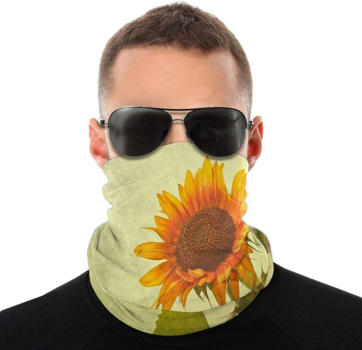 Kiuloam Bandanas Face Mask, Smile Sunflower Neck Gaiter Mask Headband for Men Women Face Scarf Dust, Outdoors, Sports